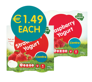 Centra Raspberry Yogurt 4 Pack 500g