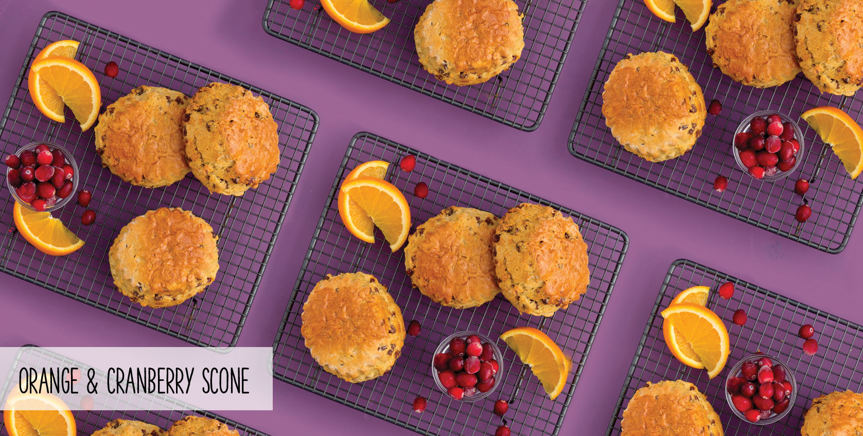 ORANGE & CRANBERRY SCONE - Made with real butter & cranberries. Free from artificial colours & flavours.