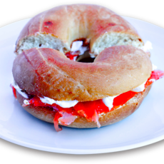 Luscious breakfast bagel