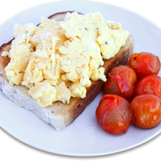 Scrambled eggs with roast tomatoes