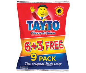 Tayto Cheese   Onion Flavour Potato Crisps 9 x 25g
