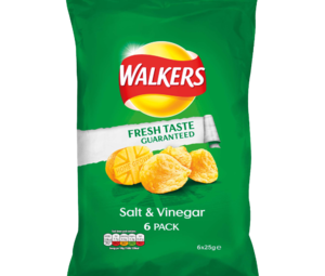 Walkers Salt Vinegar Flavour Crisps 6 x 25g