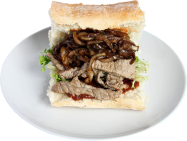 Steak Sandwich with Caramelised Onions