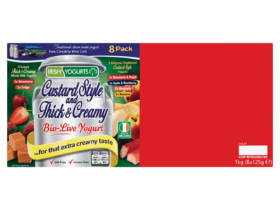 Irish Yogurts Custard Style and Thick   Creamy Bio Live Yogurt 1kg