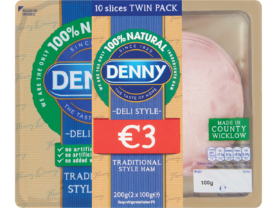Denny Deli Style Traditional Style Ham 10 Slices Twin Pack 2 x 100g  200g