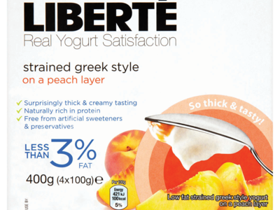 Libert Real Yogurt Satisfaction Strained Greek Style on a Peach Layer 4 x 100g  400g