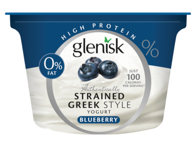 Glenisk Blueberry 0  Fat Greek Protein Yogurt 150g