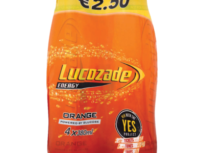 Lucozade Energy Orange PMP 2.50 4 Pack 380ml
