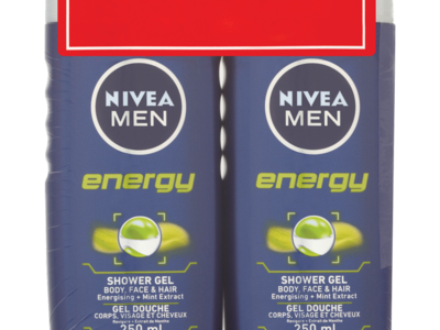 NIVEA MEN Energy Shower Gel Twin Pack 250ml