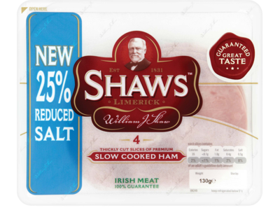 Shaws Slow Cooked Ham 4 Slices 130g
