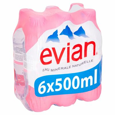 Evian Still Water Bottle Pack 6 x 500ml