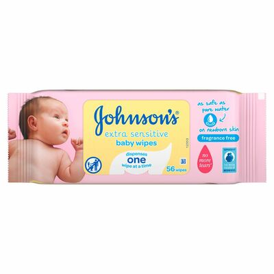 Johnson's Baby Sensitive Wipes Fragrance Free 56pce