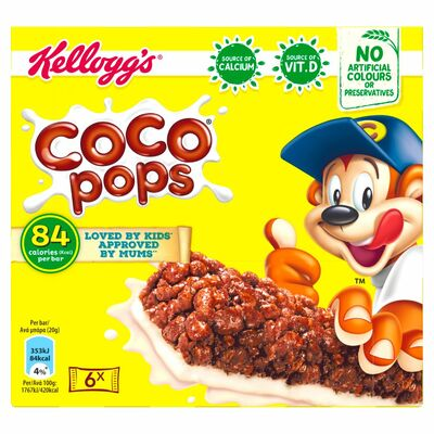 Kellogg's Coco Pops Cereal & Milk Bars 6 Pack 120g