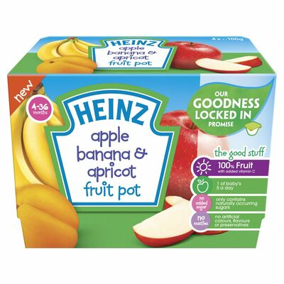 Heinz Apple. Banana & Apricot Fruit Pot 400g