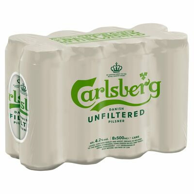 Carlsberg Unfiltered Can Pack 8 x 500ml