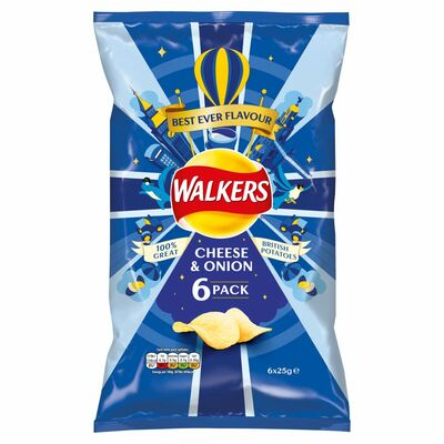 Walkers Cheese & Onion Crisps MultIPAck 6 x 25g