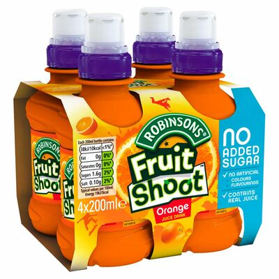 Robinsons Fruit Shoot Orange Low Sugar Bottle Pack 4 x 200ml