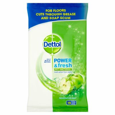 Dettol Floor Wipes Green Apple 15pce