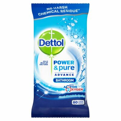 Dettol Power & Pure Bathroom Wipes 80pce