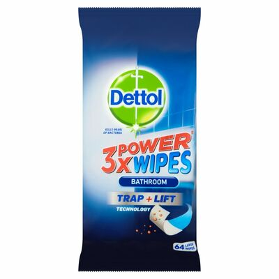 Dettol 3Xpower Gel Bathroom Wipes 64pce