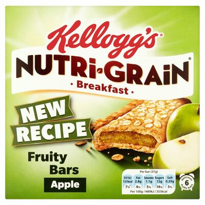 Kellogg's Nutri-grain Apple Cereal Bars 6 Pack 222g