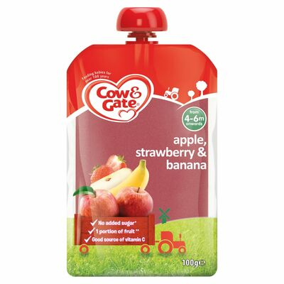 Cow&Gate Apple Straw/Ban Fruit Pouch 6 Pack 100g