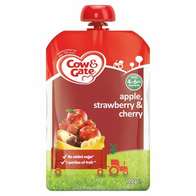 Cow & Gate Apple Straw Cherry Fruit Pouch 100g