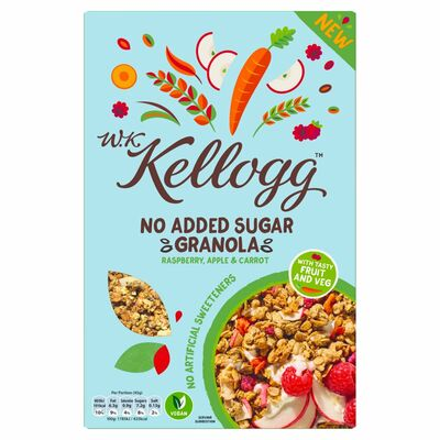 W.K. Kelloggs No Added Sugar Raspberry. Apple & Carrot Granola 500g