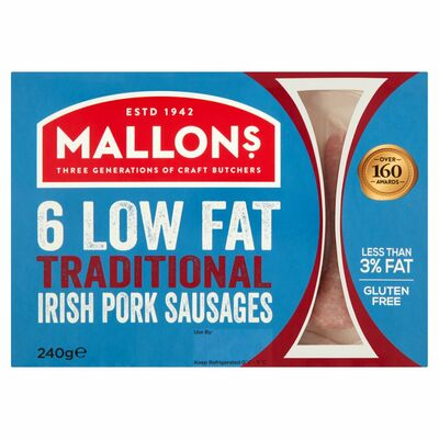 Mallons Low Fat Gluten Free Pork Sausage 240g
