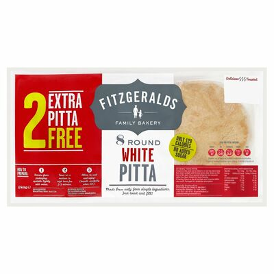 Fitzgeralds Family Bakery Round White Pitta 8 Plus 2 Free 480g