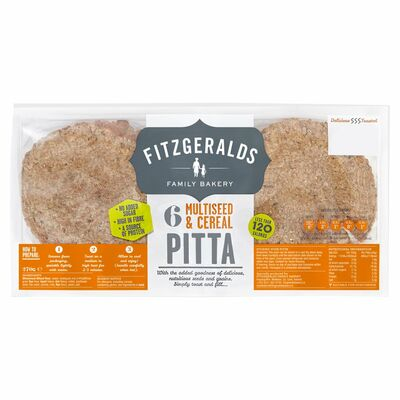 Fitzgeralds 6 Multiseed Cereal Pitta 300g