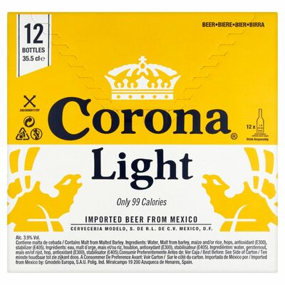CORONA LIGHT BOTTLE BOX 12 X 355ML