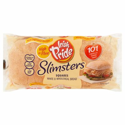Irish Pride Slimsters White & Wholemeal Square Breads 4 Pack 164g