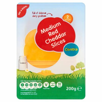 Centra Red Cheddar Slices 200g