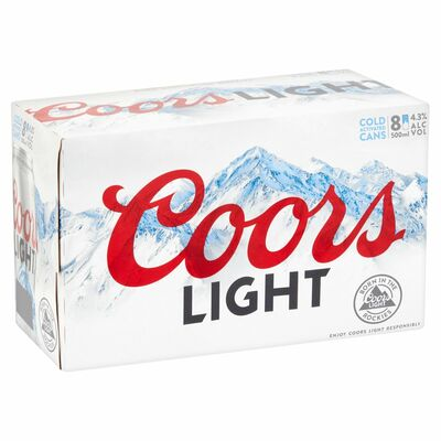 Coors Light Can Pack 8 x 500ml