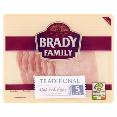 Brady Family Traditional Real Irish Ham Minimum 5 Slices 90g