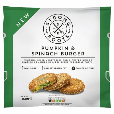Strong Roots Pumpkin & Spinach Burger 450g