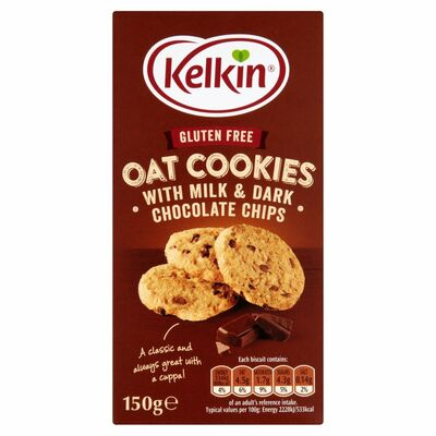 Kelkin Gluten Free Oat Cookies With Milk & Dark Chocolate Chips 150g