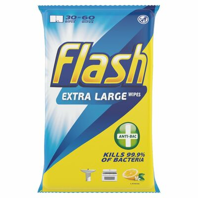 Flash Antibacterial Wipes 60pce
