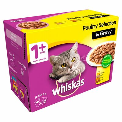 Whiskas Pouch 1+ Poultry Selection In Gravy 12 Pack 1.2kg