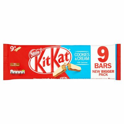 Nestlé KitKat 2 Finger Cookies & Cream Milk Chocolate Biscuit Bar 9 Pack 186g