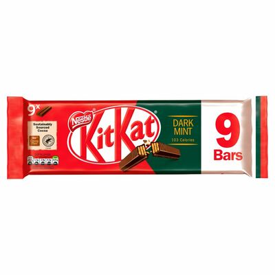 Nestlé Kit Kat 2 Finger Dark Mint Chocolate Biscuit Bar 9 Pack 186g