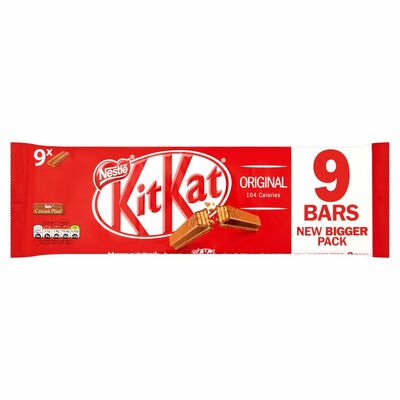 Nestlé Kitkat 2 Finger Milk Chocolate Biscuit Bar 9 Pack 186.3g