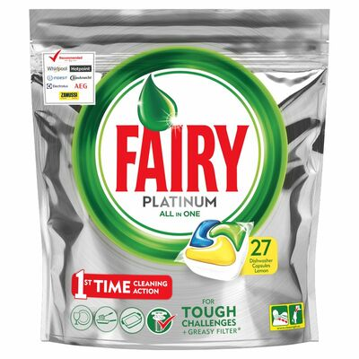 Fairy Platinum Dishwasher Tablet Lemon 27pce