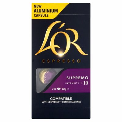 L'Or Espresso Supremo Intensity 10 Capsules 10 Pack 50g