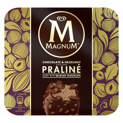 Magnum Chocolate & Hazelnut Praline Ice Cream 3 Pack 270ml