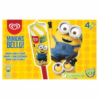 Minions Bello! Banana And Vanilla Flavour Ice Cream Lolly 4 Pack 196ml