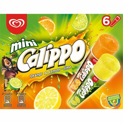 Calippo Mini Max Orange & Lemon-Lime 6 Pack 480ml