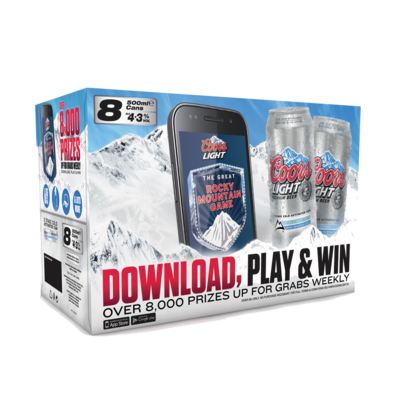 Coors Light Can Pack 8x500ml