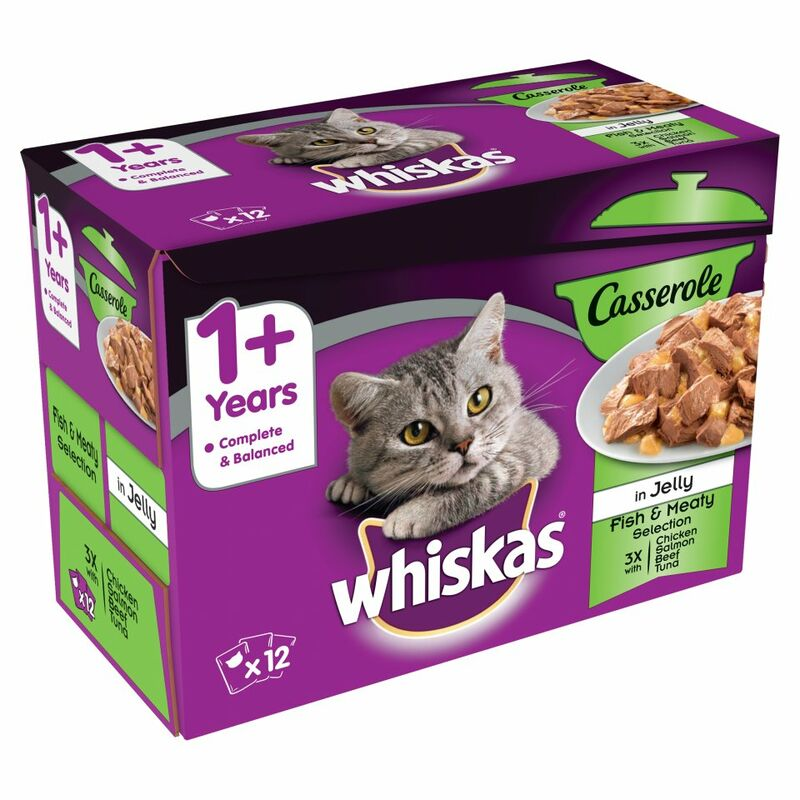 WHISKAS 1+ Cat Pouches Casserole Fishy & Meaty Selection 12 x 85g
